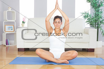 Slim brunette woman relaxing sitting in lotus position on exercise mat