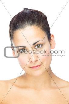 Portrait of friendly smiling brunette woman