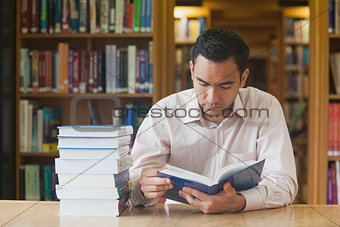 Intellectual attractive man reading concentrated a book