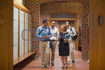 Small class walking through the corridor