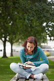 Focused casual student sitting on bench reading