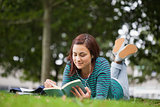 Calm casual student lying on grass reading