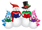Snowman Christmas Carolers Illustration