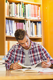 Handsome concentrating student studying his books