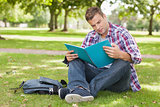 Handsome concentrating student sitting on grass studying