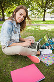 Pretty smiling student sitting on grass using laptop