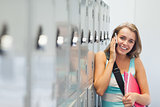 Cheerful pretty student phoning