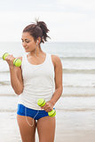 Focused smiling woman lifting dumbbells on the beach