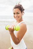 Lovely fit woman lifting dumbbells on the beach