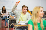 Male student raising hand by others in classroom