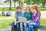 Young college students using laptop in park