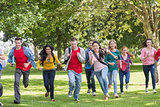 College students running in the park