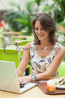 Woman using laptop while having meal