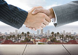 Business handshake on background of townscape
