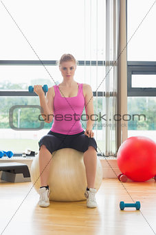 Fit beautiful woman with dumbbell sitting on exercise ball