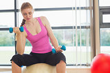 Fit beautiful woman with dumbbells sitting on exercise ball