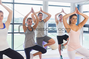 Fitness class and instructor standing in tree pose