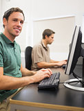 Mature students in computer room