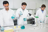 Group of scientists working at the lab