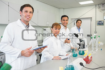 Group of scientists working in the lab