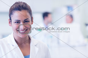 Close up portrait of smiling female doctor at medical office