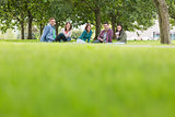 Young college students sitting on grass in park