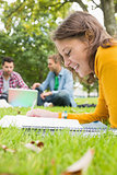 Student writing notes with males using laptop in park
