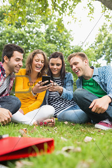 Happy college students looking at mobile phone in park