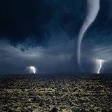 Tornado, lightning, farmland