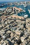 view of historical center and harbour of Genoa Italy