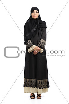 Arab woman posing standing wearing a hijab