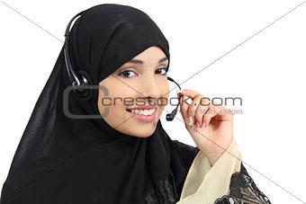 Beautiful phone operator arab woman working