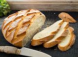Sliced rustic loaf.