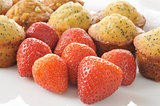 Fresh strawberries with muffins