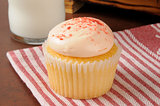 Strawberry cream cupcake with milk