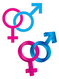 Male and Female Gender Symbol Intertwined