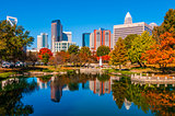 charlotte skyline in fall season