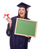 Female Graduate in Cap and Gown Holding Diploma, Blank Chalkboar