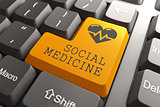 Keyboard Social Medicine Orange Button.