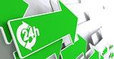 Service 24h Icon on Green Arrow.