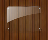 Glass banner on wooden background