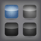 App icon set - jeans, metallic and leather