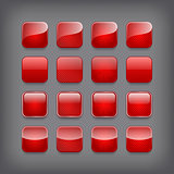 Set of blank red buttons for you designor app.