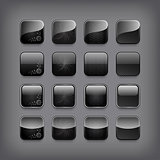 Set of blank black buttons for you designor app.