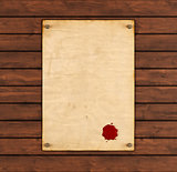 Old paper with red wax seal