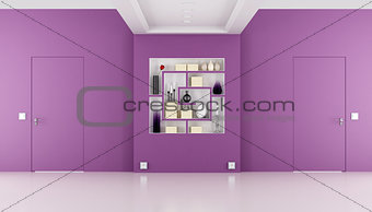 Doors flush with the wall in a purple room