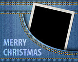 Merry Christmas greeting and blank photo frame in blue jeans poc