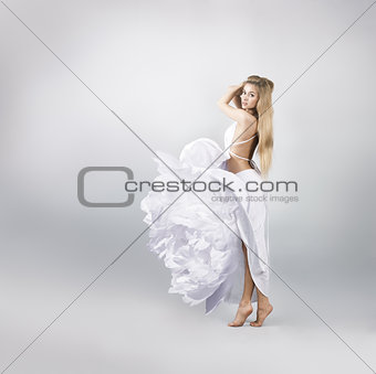 Blonde Woman in White Peony Flower Dress
