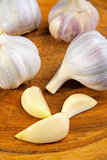 garlic on the wooden board