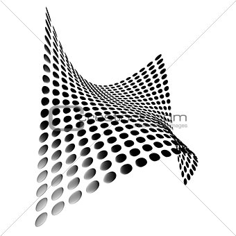 abstract metallic rounded plates form a wave on a white background